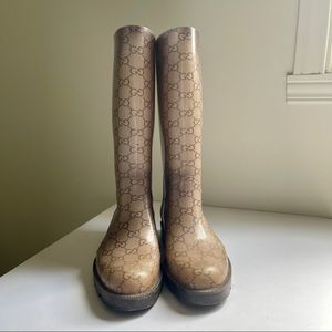 Gucci monogram rain boots size 36